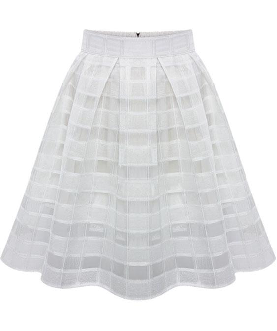 White High Waist Plaid Flare Chiffon Skirt - Sheinside.com