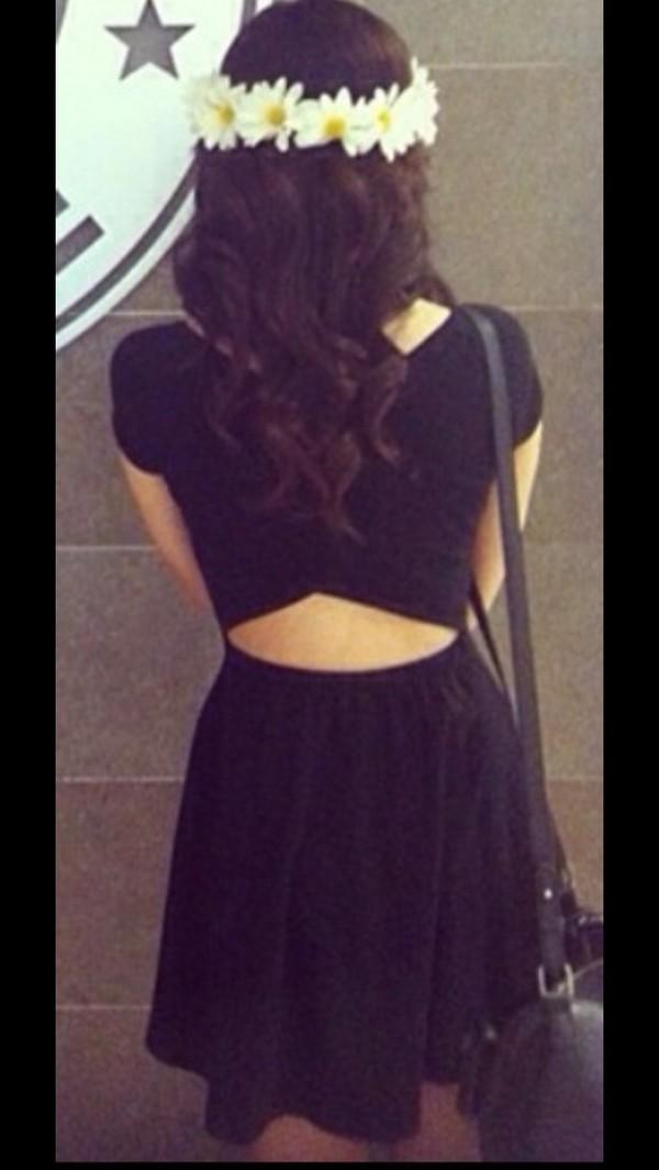 dress black wrap back