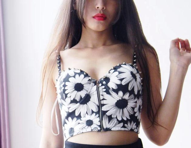 2013 New Fashion Intimates Sexy Rivet Cropped Bra Floral Print Bustiers &Corsets Spaghetti Strap Crop Top Free Shipping-in Camis from Apparel & Accessories on Aliexpress.com
