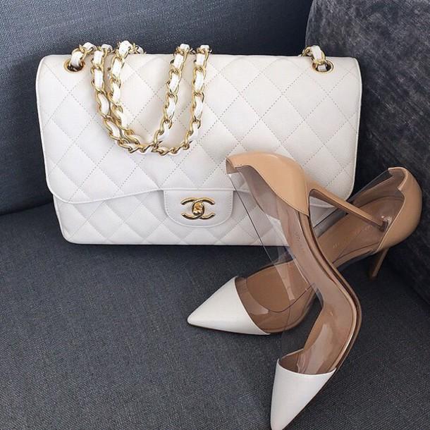 shoes heels nude heels white heels bag