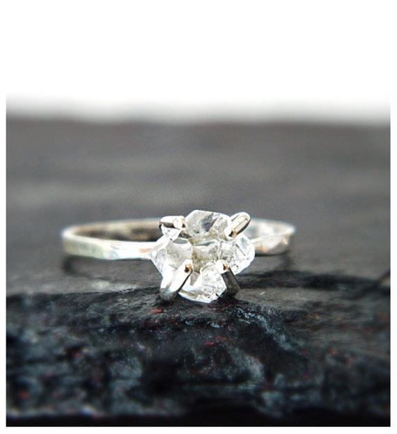 Diamond Engagement Ring Herkimer Diamond by camilaestrella on Etsy