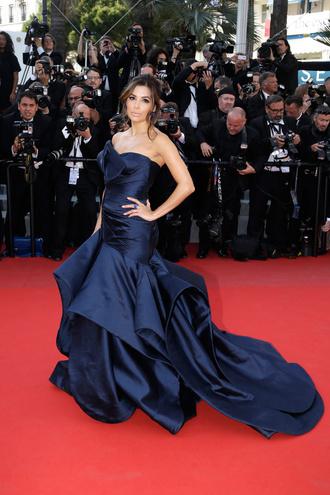 dress gown strapless bustier navy prom dress eva longoria cannes blue long red carpet fishtail