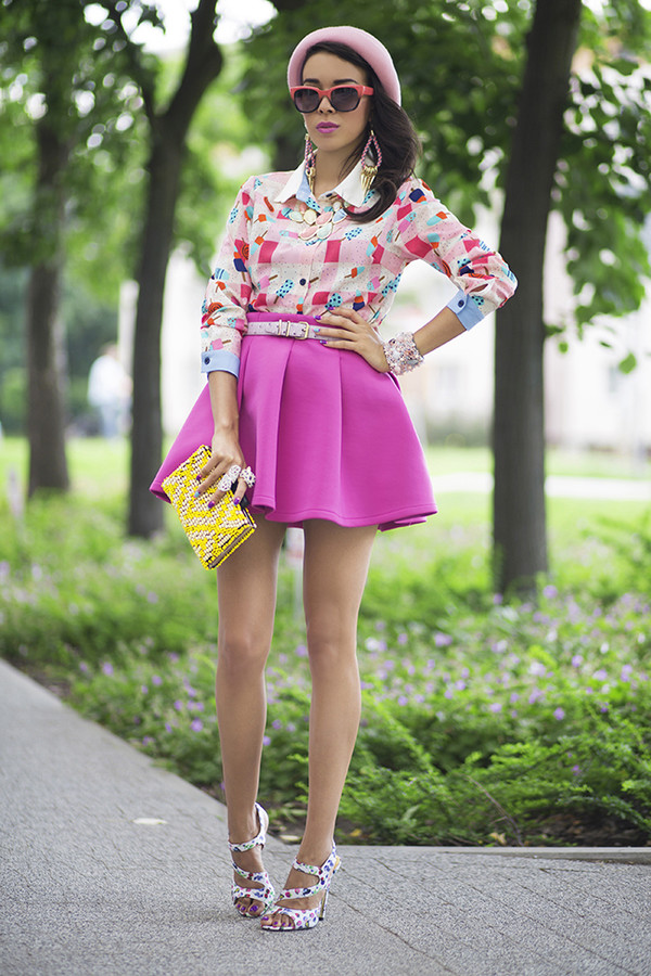 macademian girl top skirt shoes hat bag sunglasses jewels belt