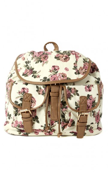 Canvas Floral Backpack | MakeMeChic.com