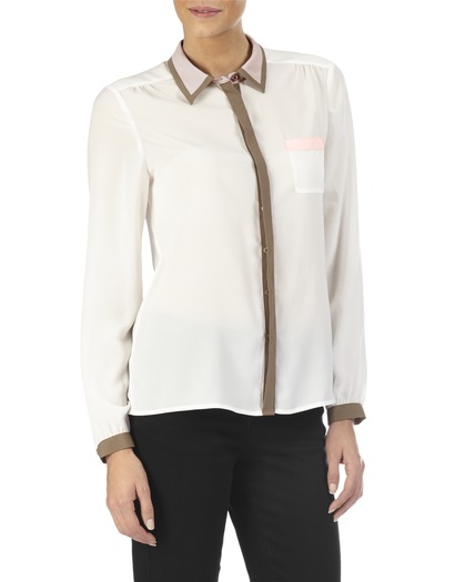 Colour Block Sheer Shirt -  at LAURA ASHLEY
