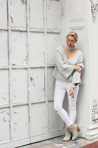 my style pill blogger sunglasses sweater jeans shoes jewels ankle boots grey sweater white jeans