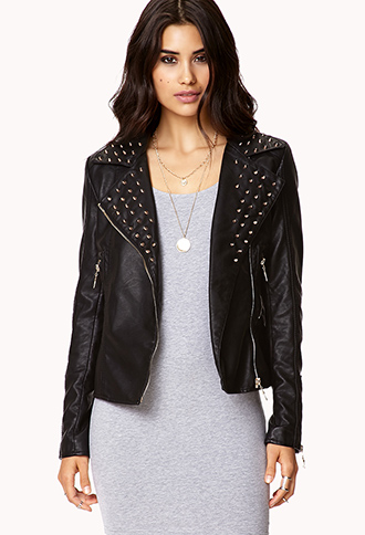 Spiked Collar Moto Jacket   FOREVER21 - 2044933505