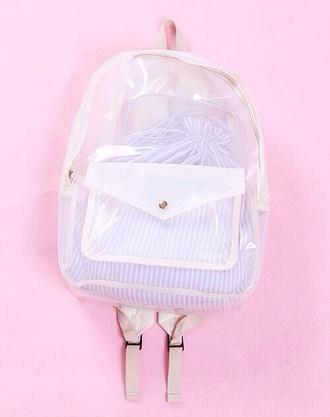 bag clear backpack transparent bag white transparent transparent  bag bookbag knapsack school bag see through cute stripes stripped bag mesh lovely petite rucksack rose plastic