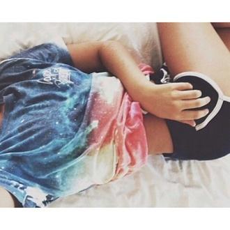 t-shirt shorts shirt galaxy shirt top hipster galaxy print pants sportswear colorful tie dye multicolor