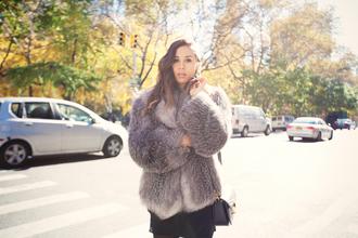 cropped coat blogger fashion fashiontoast rumi rumi neely grey coat jacket purple mauve winter coat fur fur coat cute chic short coat cropped jacket michael kors grey fur jacket