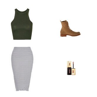 top crop tops green top olive green stripes striped skirt bodycon skirt combat boots brown combat boots lipstick nude lipstick ysl