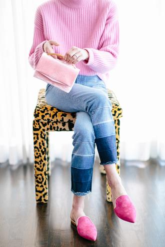luella & june blogger jeans bag denim ombre pink sweater pink
