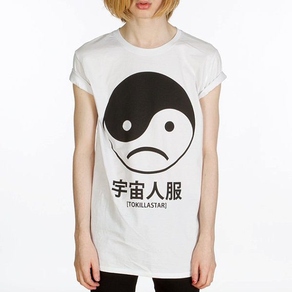 Yin Yang Sad Face T Shirt by killstarclothing on Etsy