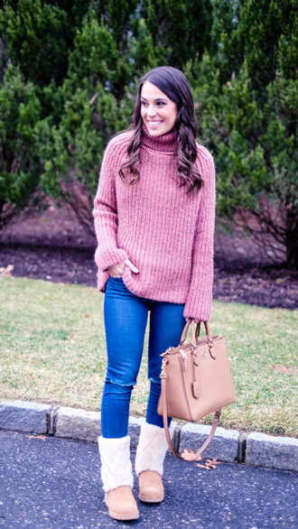 mrscasual blogger sweater shoes jeans bag jewels turtleneck sweater pink sweater winter outfits winter boots