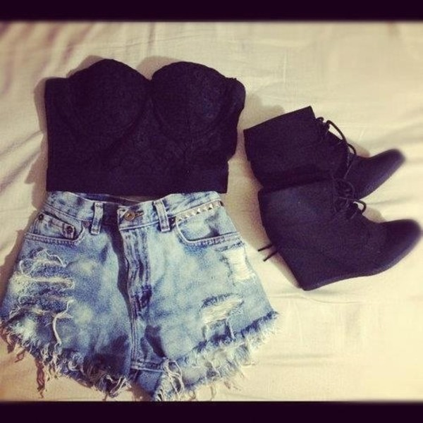 jeans clothes shorts black top hot pants ripped jeans tank top t-shirt corset top ... shoes heels black top denim shorts High waisted shorts