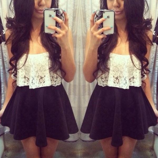 blouse white lace flowy blouse black skater skirt belt skirt