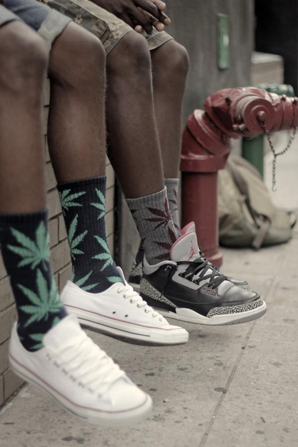 underwear socks huf weed socks