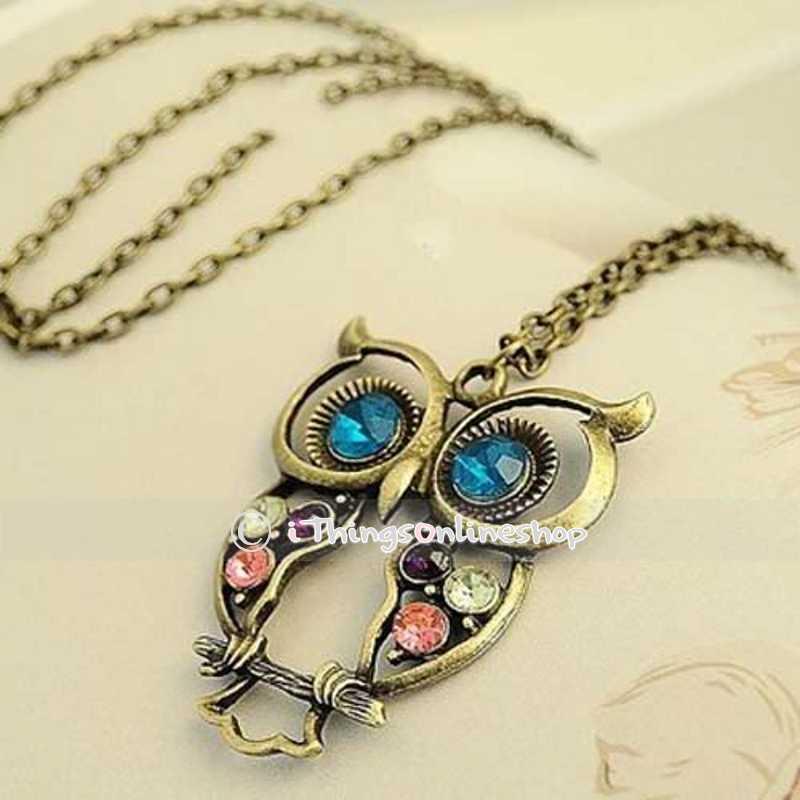 Vintage Rhinestone OWL Pendant Long Chain Necklace Fashion Jewellery Gift | eBay