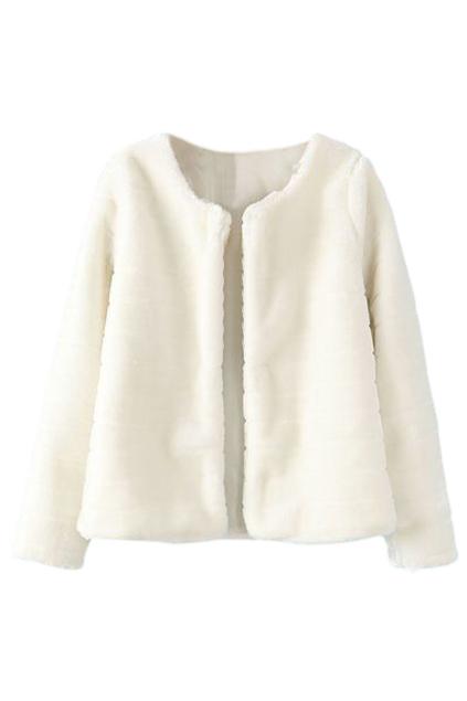ROMWE | ROMWE Buttonless Furry Long Sleeves White Coat, The Latest Street Fashion