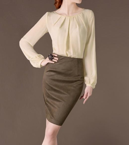 Yellowish Elegant Noble Summer OL Silk Women Fashion Shirt lml7045 - ott-123 - Global Online Shopping for Dresses