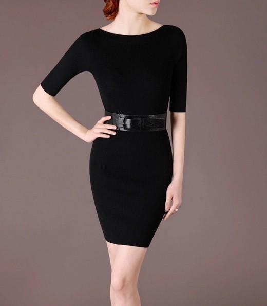Black Elegant Noble Summer OL Slim Short Sleeve Women Fashion Sweater Dress lml7017 - ott-123 - Global Online Shopping for Dresses