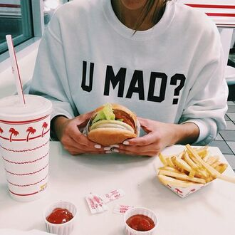 sweater cool swag tumblr outfit style sweatshirt food made by order tumblr white sweater girl instagram letters u mad? hamburger pullover clothes u mad u mad sweater white t-shirt shirt you mad ? crewneck white sweat are u mad summer beautiful grey print are you mad cali top written fashion