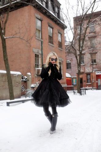 atlantic pacific blogger black skirt wellies tulle skirt all black everything black jacket skirt jacket shoes