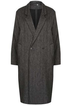 Charcoal Tweed Long Mac By Boutique - Jackets & Coats  - Clothing  - Topshop
