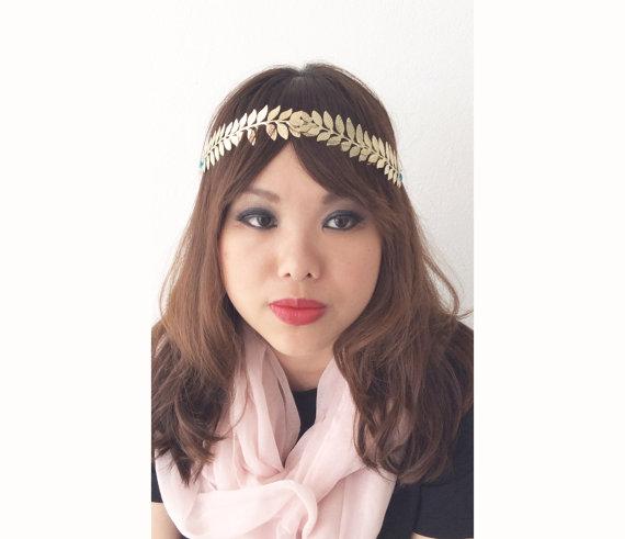 Leaves Headband Wreath Crown Wedding Headpiece by Jewelsalem