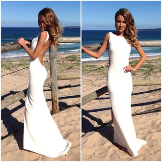 white dress open back bodycon dress maxi dress mermaid dresses wedding dress maxi long tight no sleves formal dress white sea wind lady perfect flawless happy prom gown long prom dress sexy dress evening dress formal dress