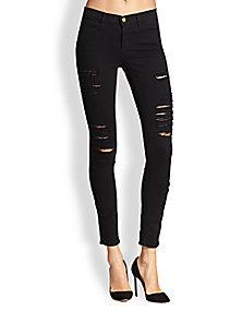FRAME - Le Color Rip Shredded Skinny Jeans - Saks Fifth Avenue Mobile