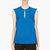 mugler blue wool peaked shoulder blouse