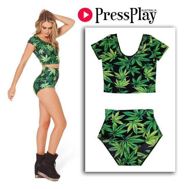 Dope Weed Print High Waist Bikini Marijuana Crop Top 2 Piece Swimsuit Nana Suit | eBay