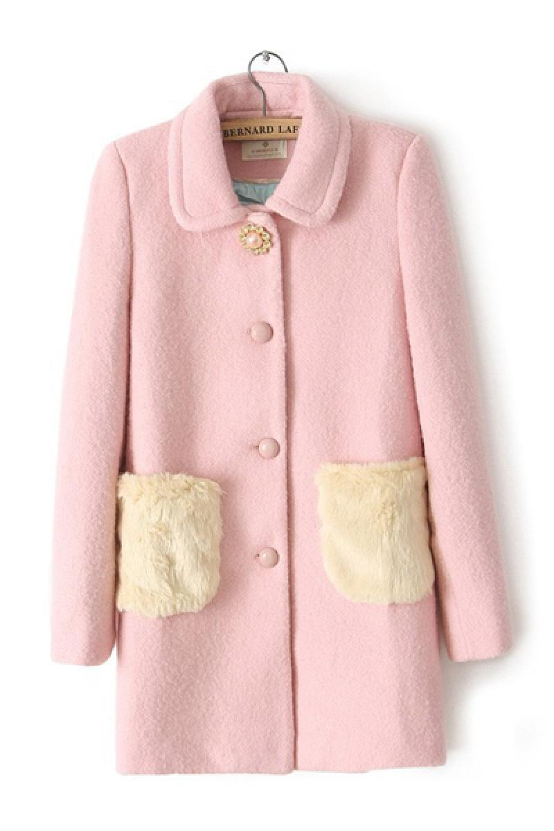 Stitching Fur Pocket Lapel Loose Long Section Overcoat,Cheap in Wendybox.com