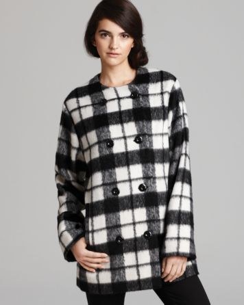 FRENCH CONNECTION Coat - Check Bunny   Bloomingdale's