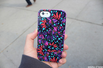 shirt floral purple pink iphone phone cover stained glass