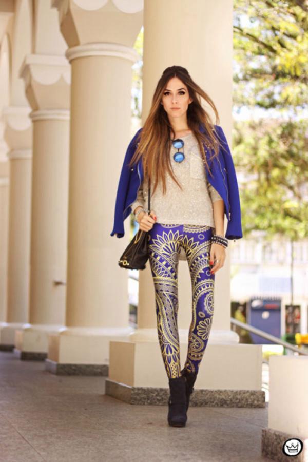 fashion coolture pants sweater jacket sunglasses bag