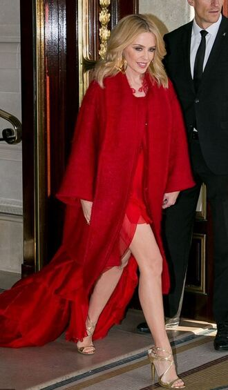coat dress red dress red kylie minogue sandals sandal heels shoes