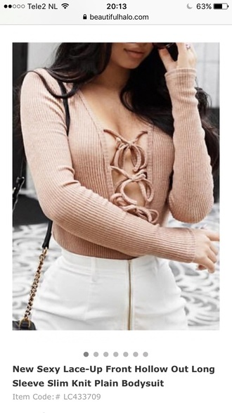 top nude beige long sleeves fashion style lace up sexy fashionista summer spring beautifulhalo
