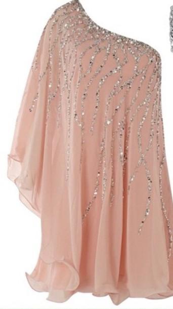 dress sequins salmon peach one sleeve dress sparkle off the shoulder dress