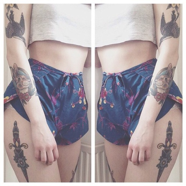 shorts tattoo pattern birds flowered shorts