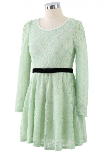 Pearly Collar Floral Lace Dress in Mint - Retro, Indie and Unique Fashion