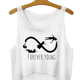 top singlet peter pan forever young young forever teenagers swag style cool hipster infinity quote on it