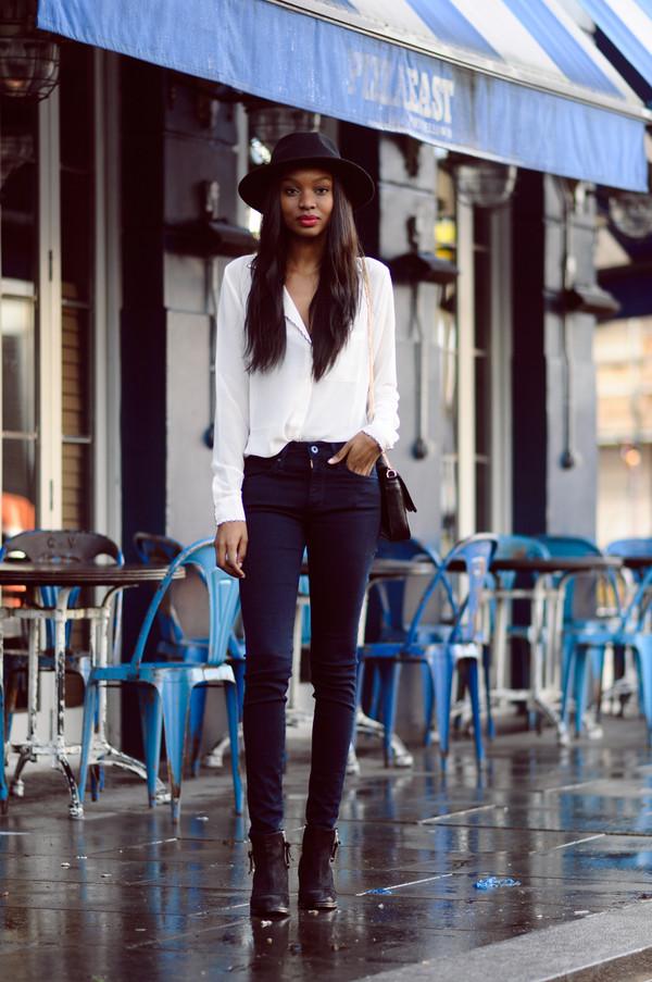 bisous natasha hat blouse jeans shoes bag