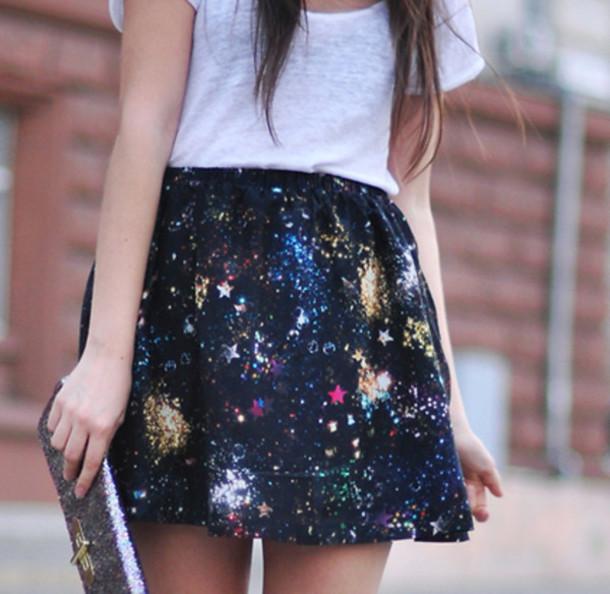galaxy skirt stars galaxy print splatter skirt mini skirt skirt