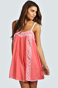 Joanne Embroidered Hippy Swing Dress at boohoo.com