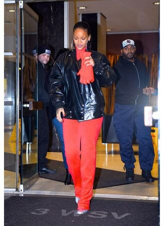top pants ankle boots jacket rihanna red high waisted shoes