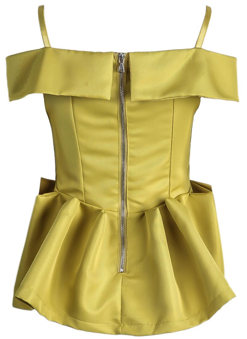 Yellow Off the Shoulder Spaghetti Strap Ruffle Top - Sheinside.com