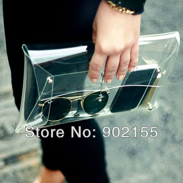 New 2014 Summer Fashion Unisex PVC Transparent Envelope Clutch ipad Clear Color  Bag Handbag For Women-in Clutches from Luggage & Bags on Aliexpress.com