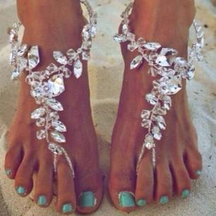 Crystal Barefoot Sandals for Beach Wedding - Juicy Wardrobe